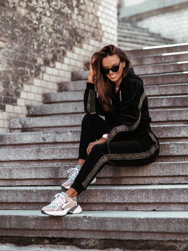 Spodnie Welur Fashion Czarne