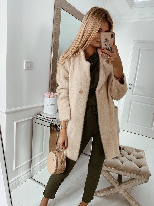 Płaszcz Bianca Premium Pudrowy
