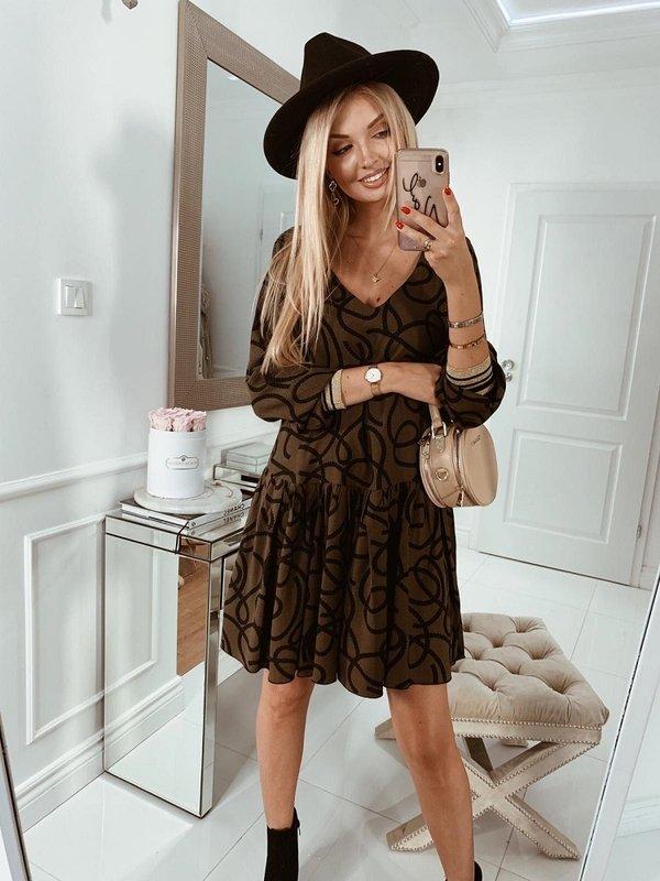 Sukienka Snakie Khaki