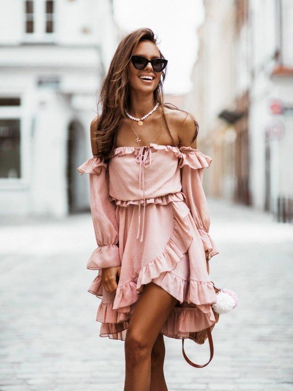 Sukienka Romantic Pudrowa