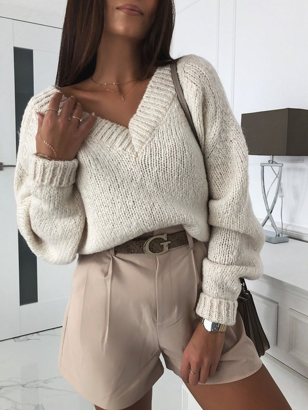 Sweter Fluffy Kremowy