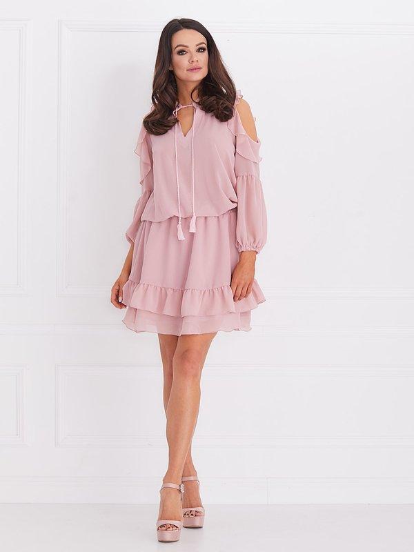Sukienka Velvet Pudrowa