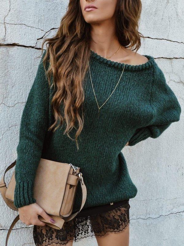 Sweter Plum Butelkowa Zieleń