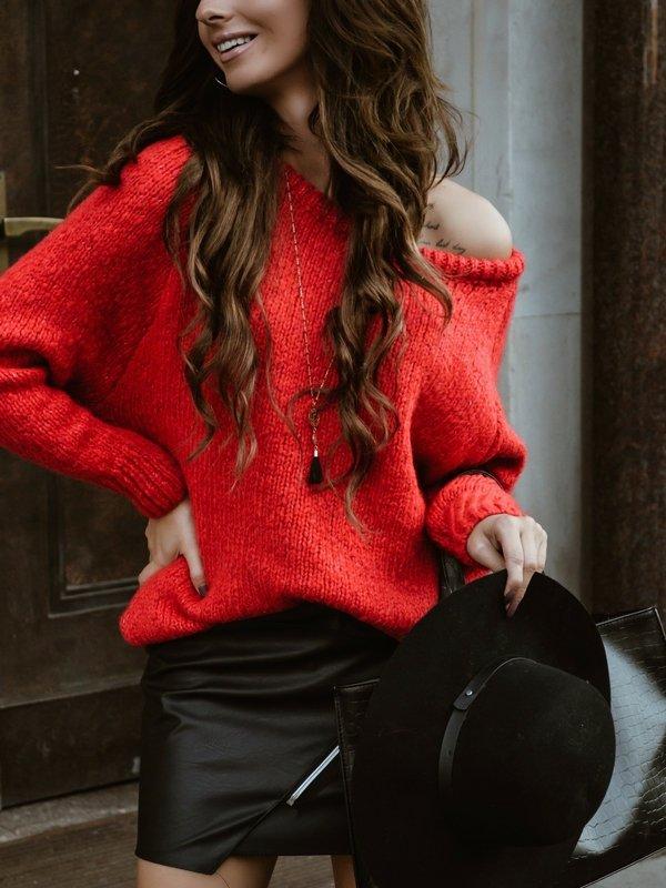 Sweter Plum Czerwony