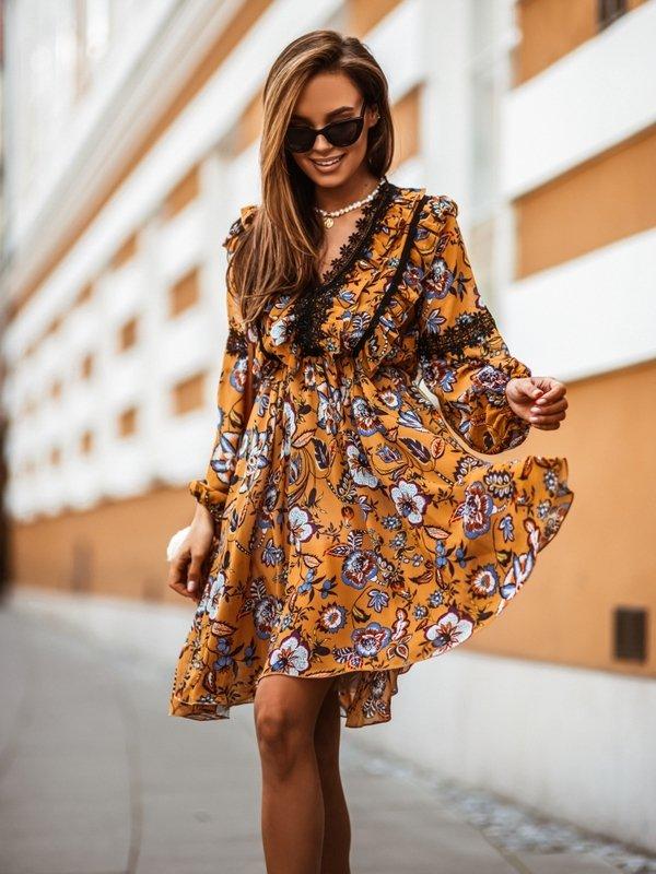 Sukienka Flou Musztardowa