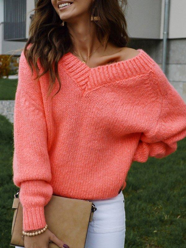 Sweter Fluffy Koralowy