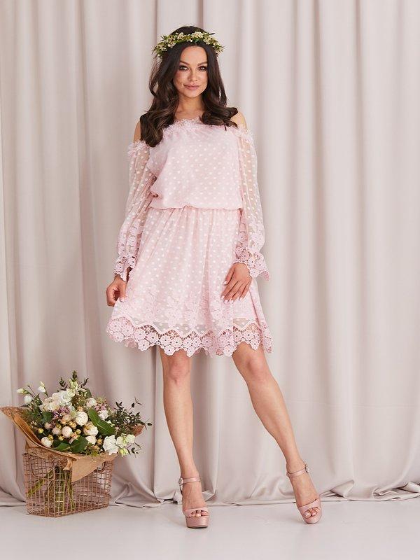 Sukienka Remedia Pudrowa