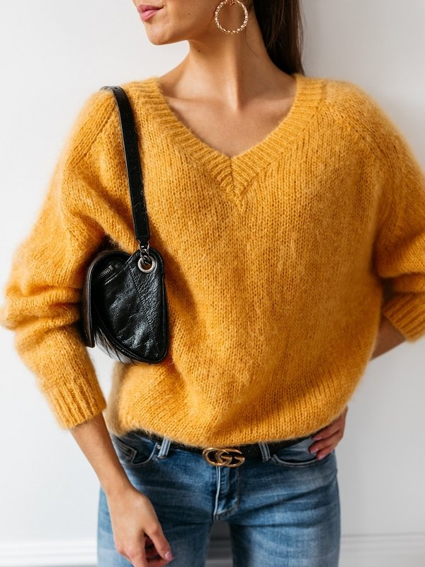 Sweter Belou Moher Żółty