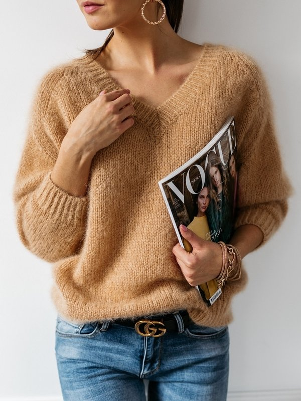Sweter Belou Moher Karmelowy