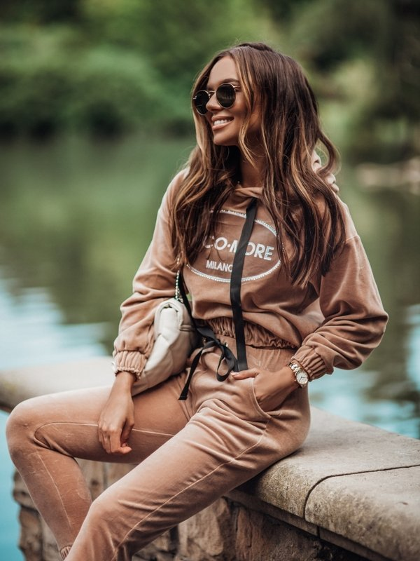 Bluza Cocomore Welur Karmelowa