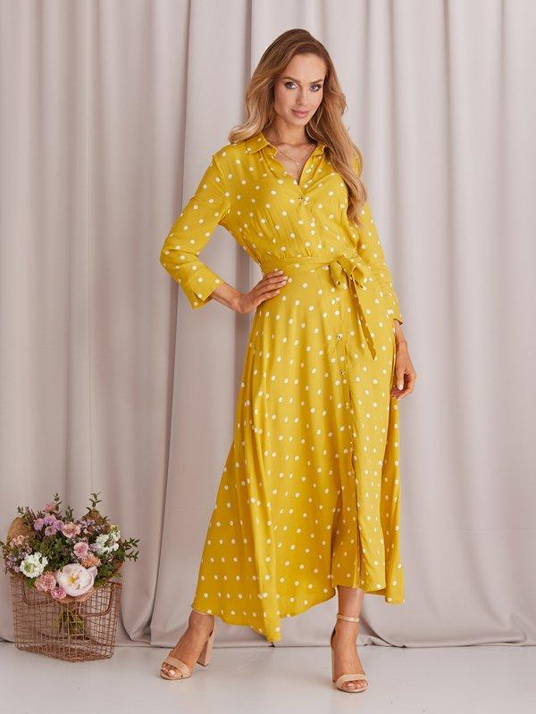 Sukienka Dotty Musztardowa