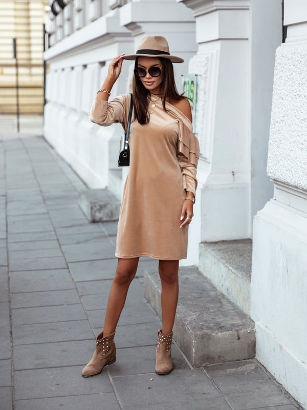 Sukienka Bombaj Karmelowa