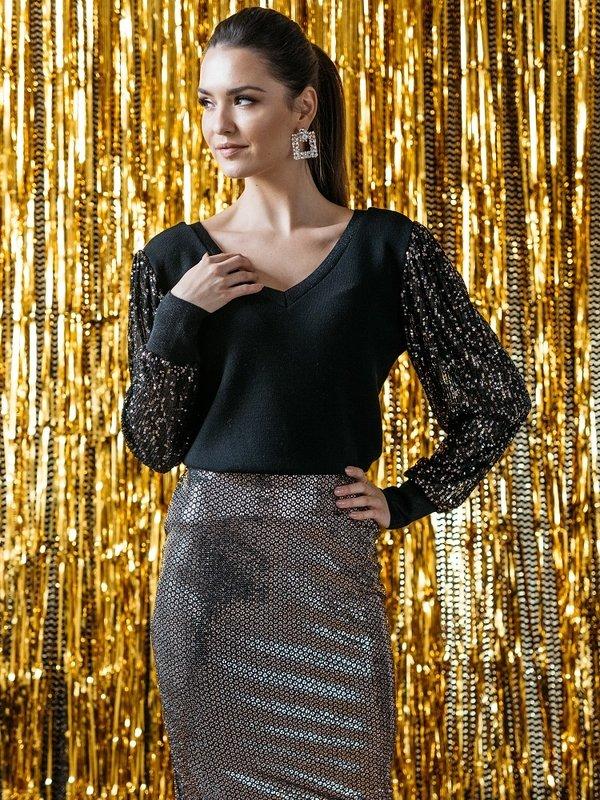 Sweter Party Black Złoty