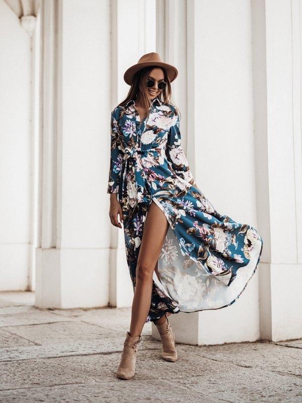 Sukienka Riva Flower Niebieska