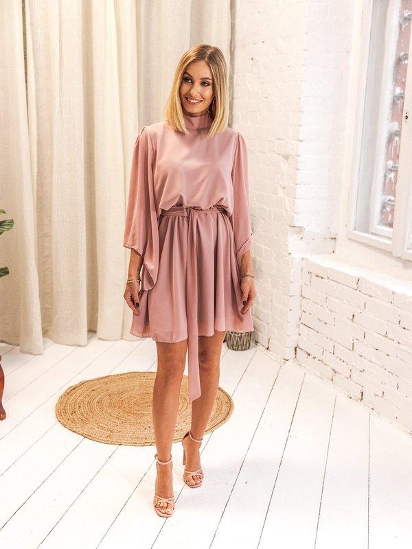 Sukienka Follow Pudrowa