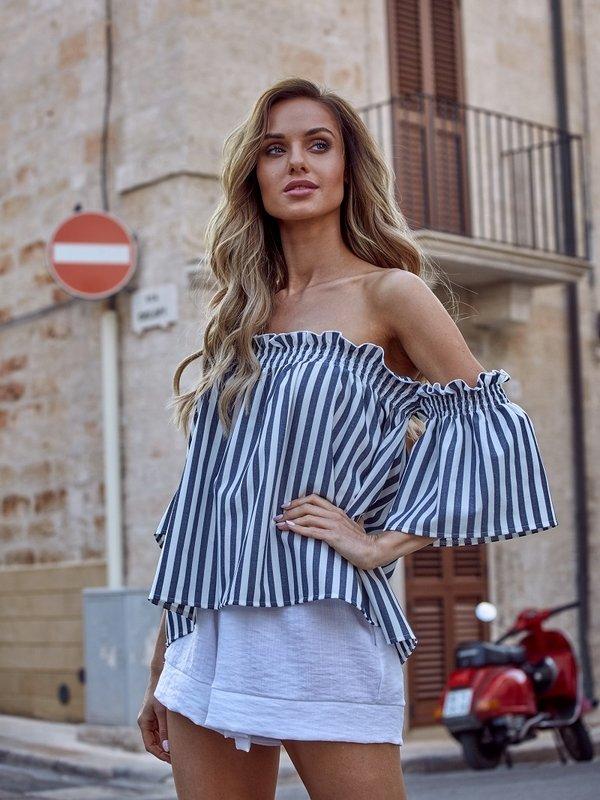 Bluzka Bardot Granatowa